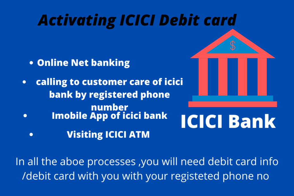 How to activate icici debit card