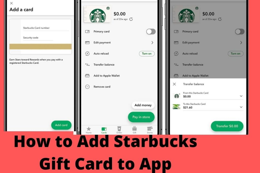 How to add a starbucks gift card to your account