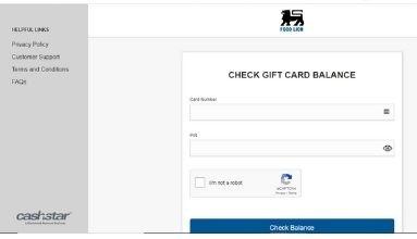 Food Lion gift card Check Balance